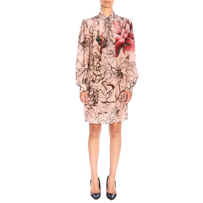 Vestido Alberta Ferretti: Vestido Alberta Ferretti con estampado floral de crepe de chine rosa pálido 1