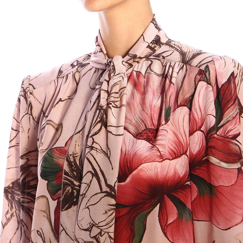 Vestido Alberta Ferretti: Vestido Alberta Ferretti con estampado floral de crepe de chine rosa pálido 3
