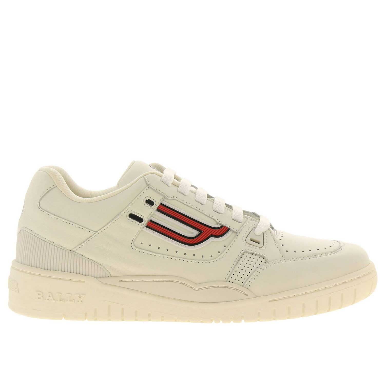 Sneakers Kuba Bally en cuir avec micro trous et maxi logo en caoutchouc blanc 1