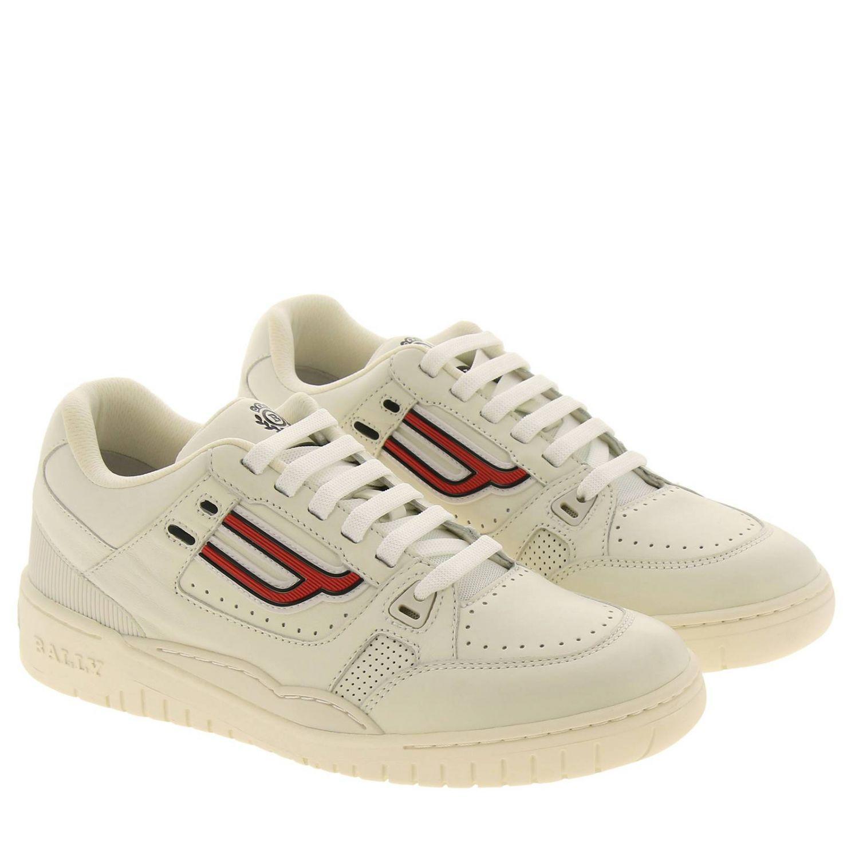Sneakers Kuba Bally en cuir avec micro trous et maxi logo en caoutchouc blanc 2