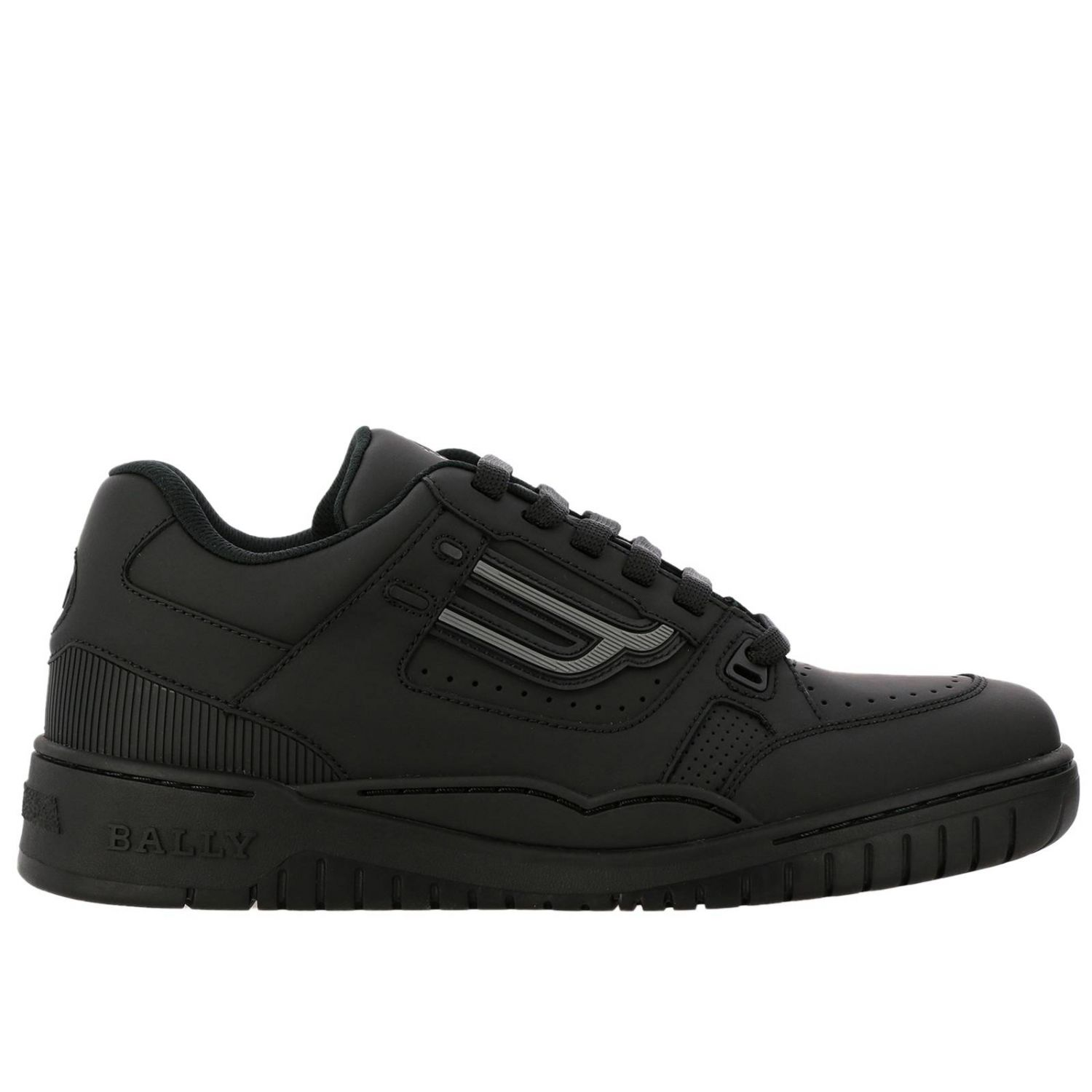 Kuba Bally sneakers in leather with micro holes and maxi rubber logo black 1