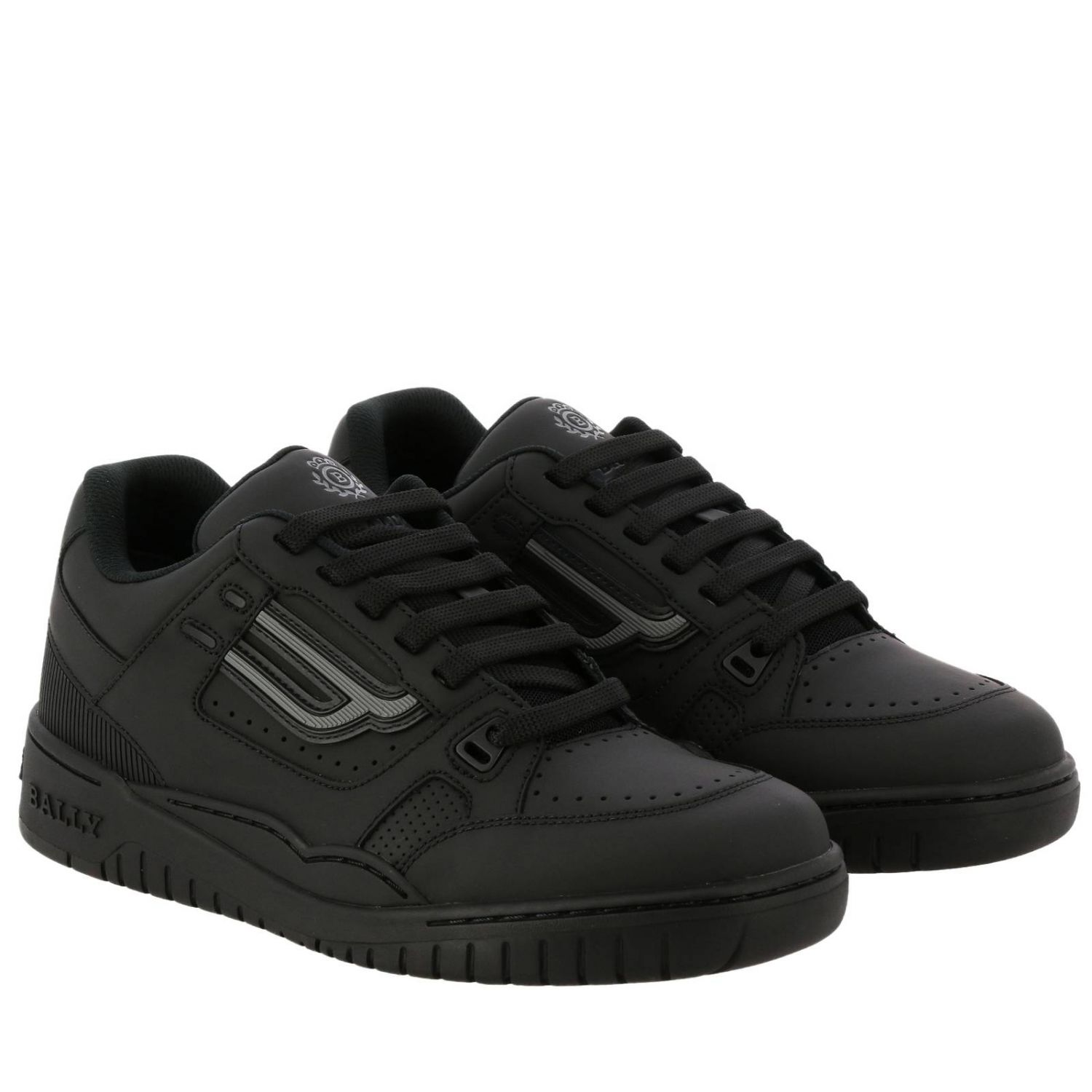Kuba Bally sneakers in leather with micro holes and maxi rubber logo black 2