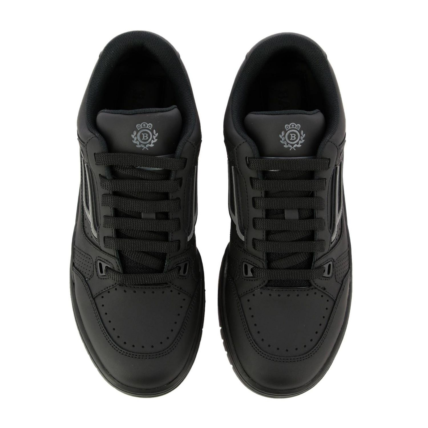Kuba Bally sneakers in leather with micro holes and maxi rubber logo black 3
