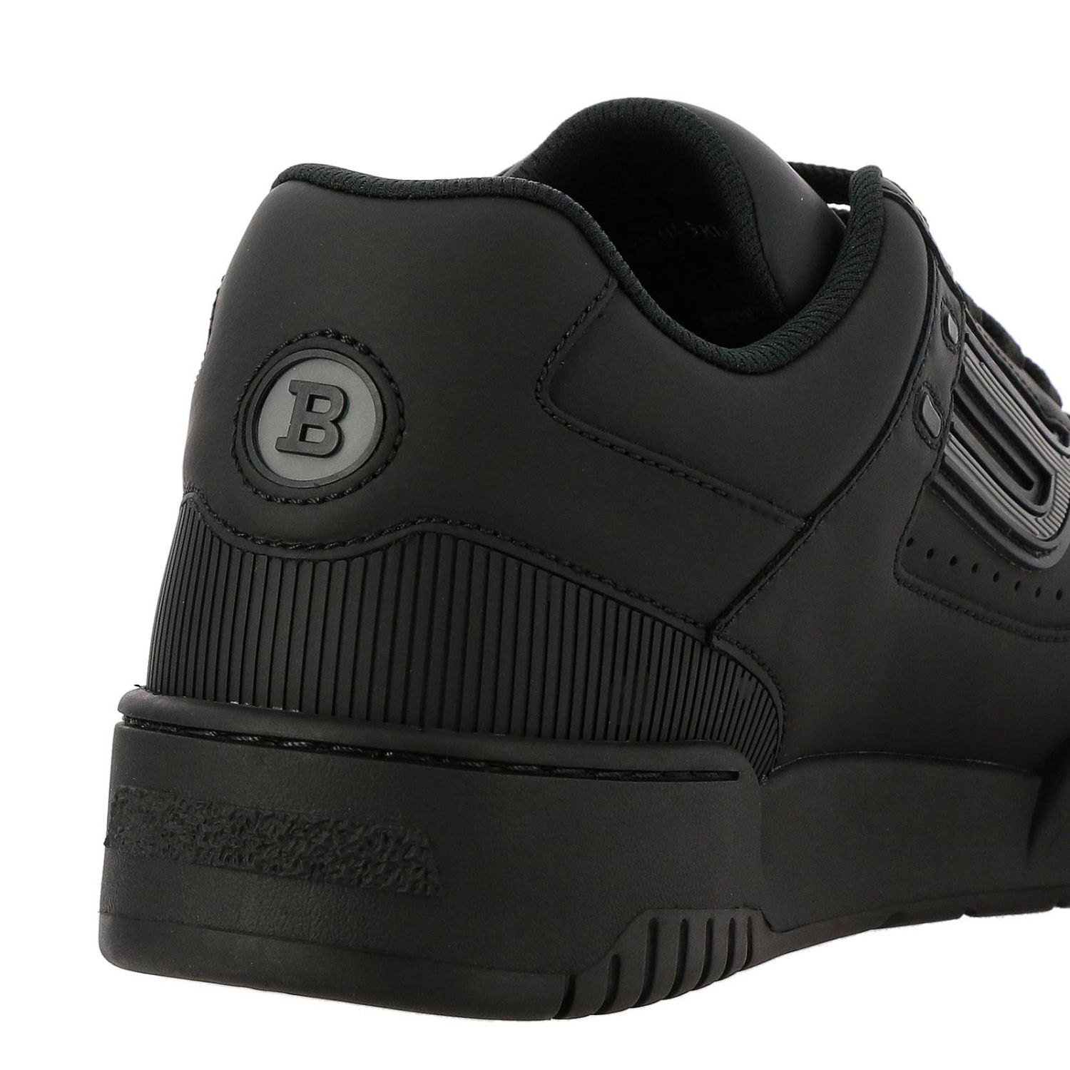 Kuba Bally sneakers in leather with micro holes and maxi rubber logo black 5