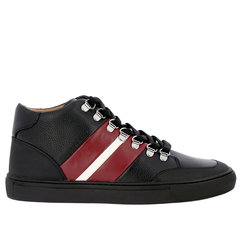 Спортивная обувь Bally: Кроссовки Hensy Bally из кожи и резины с полосатой вставкой черный 1