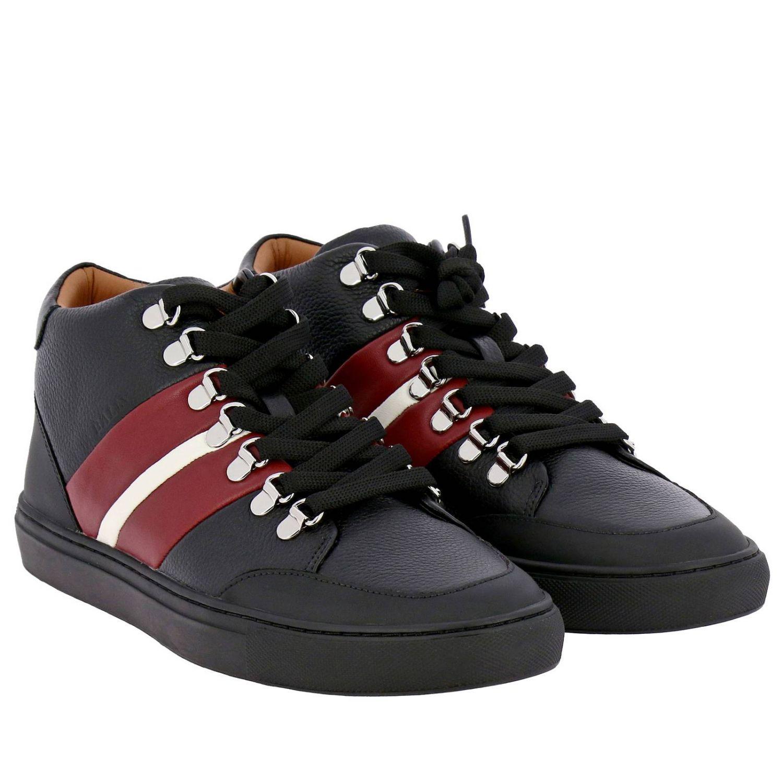 Спортивная обувь Bally: Кроссовки Hensy Bally из кожи и резины с полосатой вставкой черный 2
