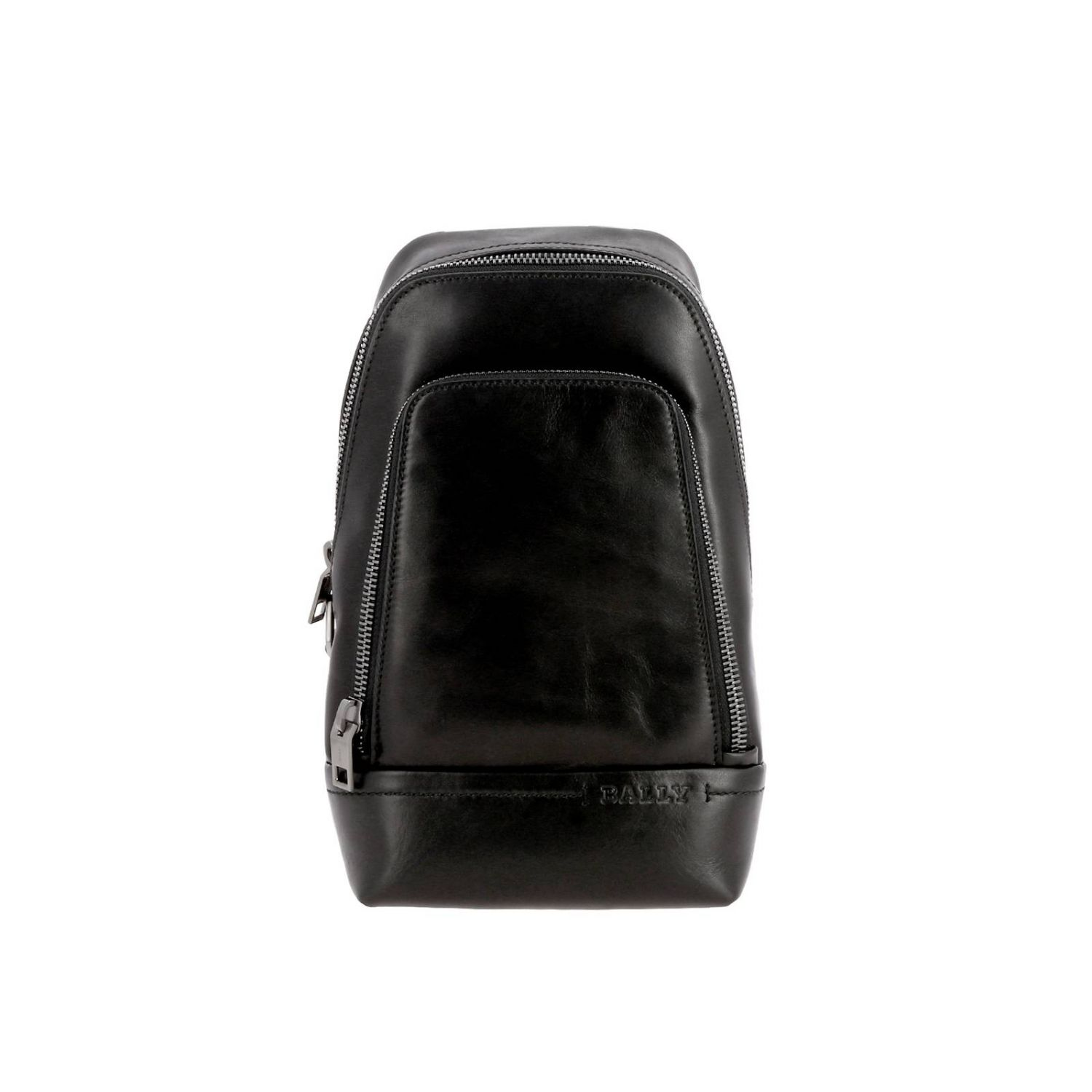 Thorp Bally one shoulder leather backpack with full zip black 1