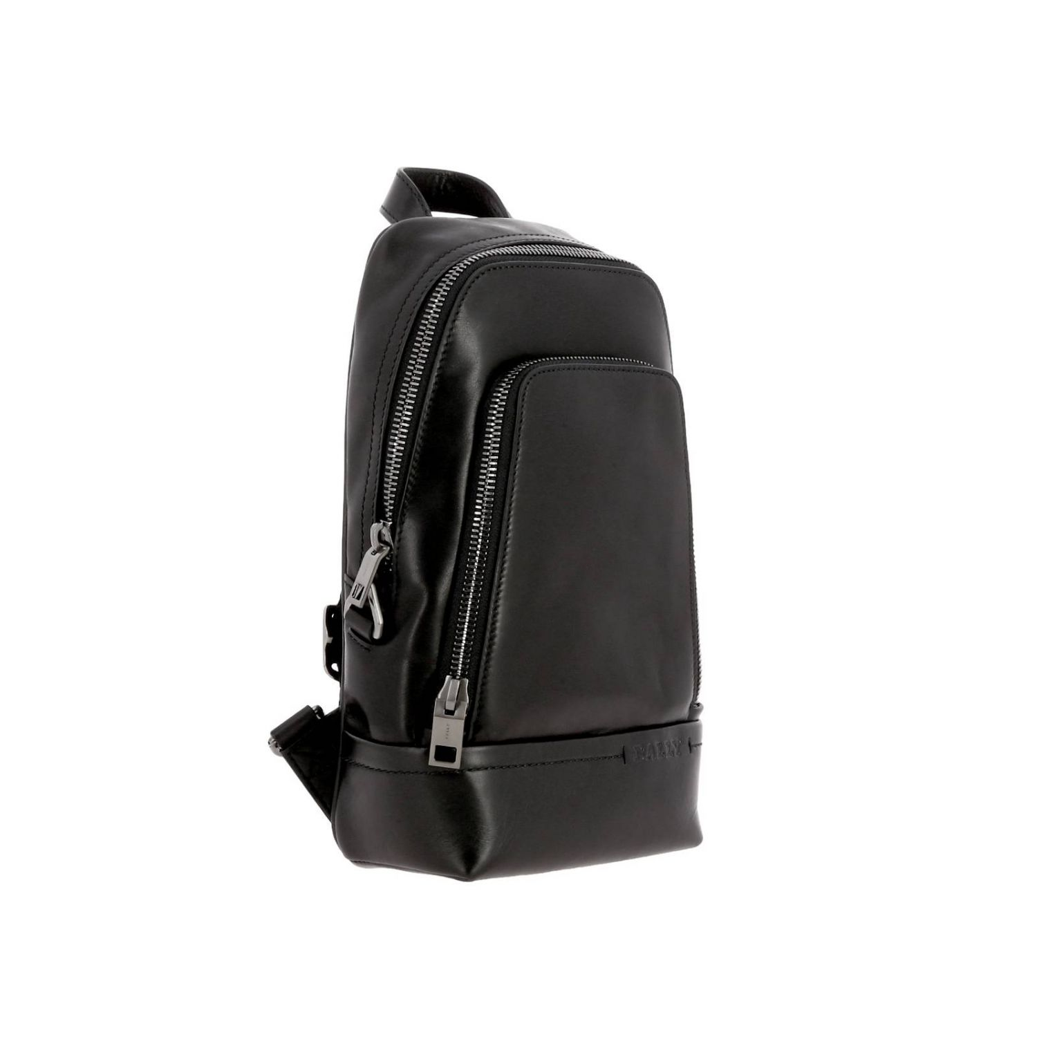 Thorp Bally one shoulder leather backpack with full zip black 3