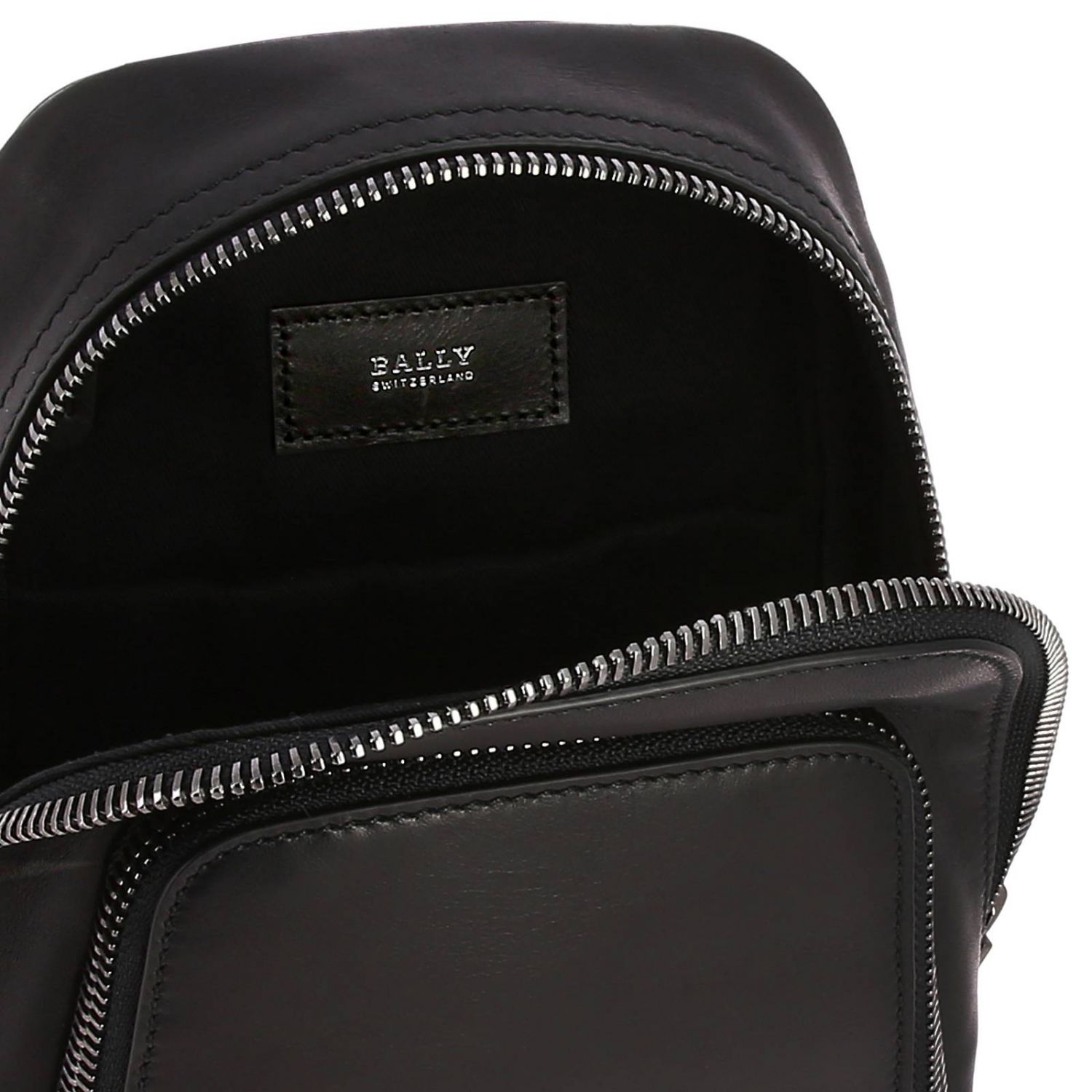 Thorp Bally one shoulder leather backpack with full zip black 6