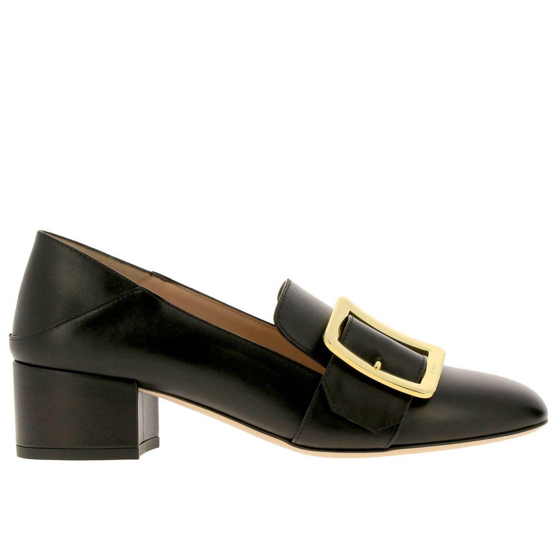 Туфли на каблуке Bally: Мокасины Janelle из гладкой кожи с металлической макси-пряжкой и сгибающейся пяткой черный 1