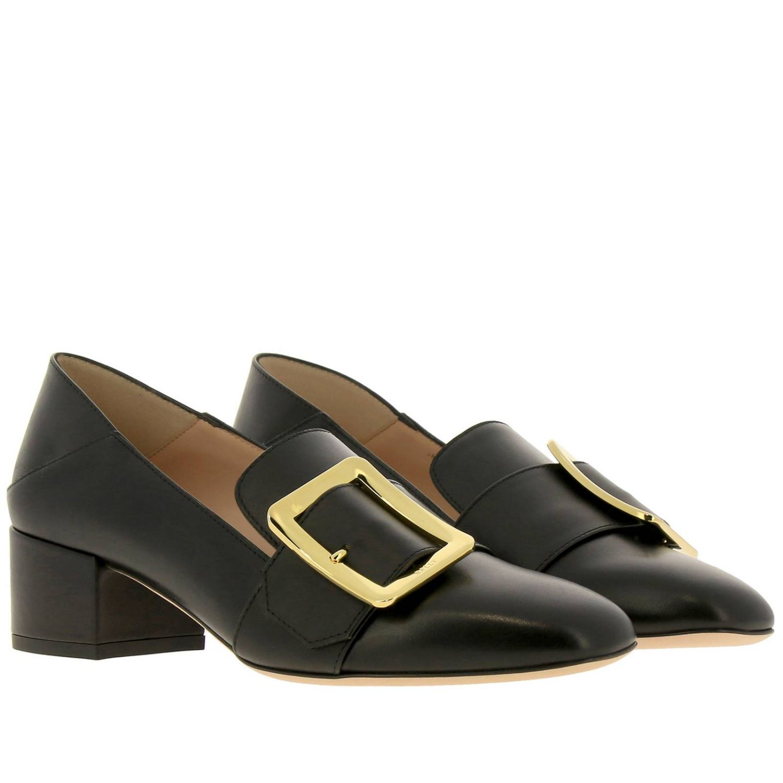 Туфли на каблуке Bally: Мокасины Janelle из гладкой кожи с металлической макси-пряжкой и сгибающейся пяткой черный 2