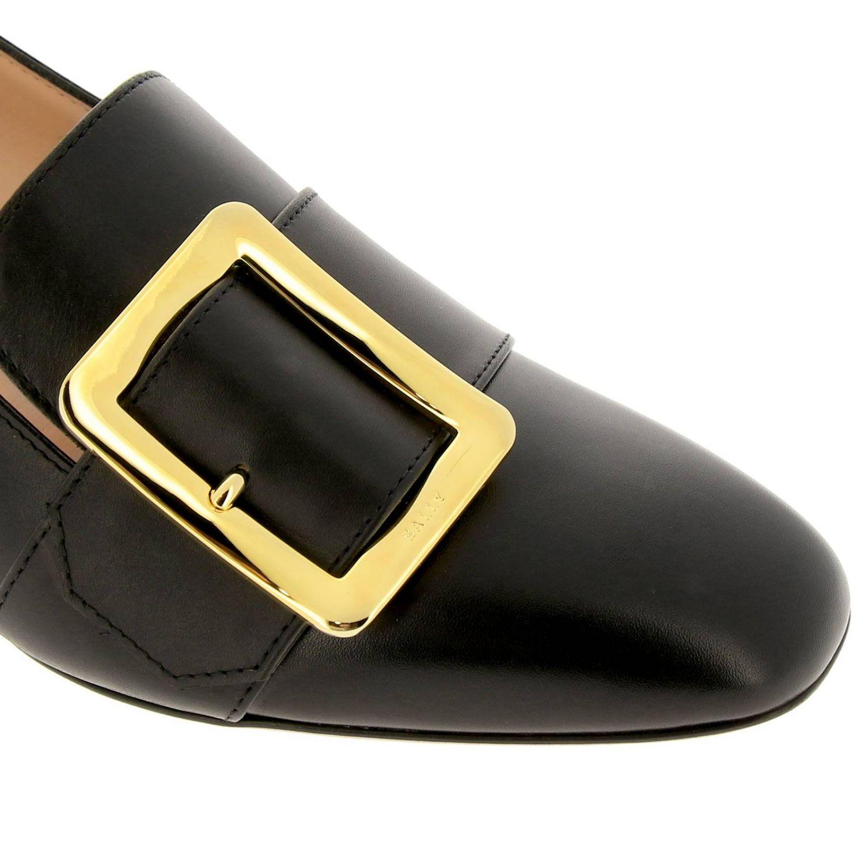 Туфли на каблуке Bally: Мокасины Janelle из гладкой кожи с металлической макси-пряжкой и сгибающейся пяткой черный 3