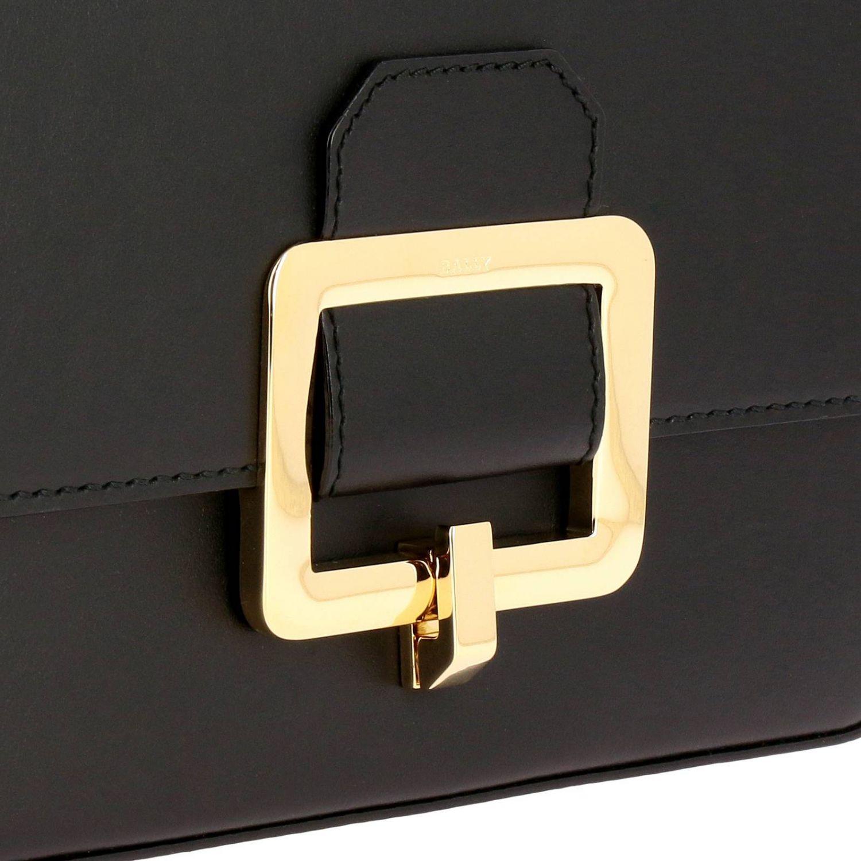 Borsa Janelle Bally in pelle con maxi fibbia metallica nero 4