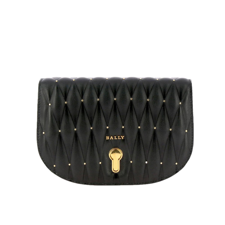 Borsa Clay mini a tracolla in pelle trapuntata con micro borchie e logo Bally nero 1