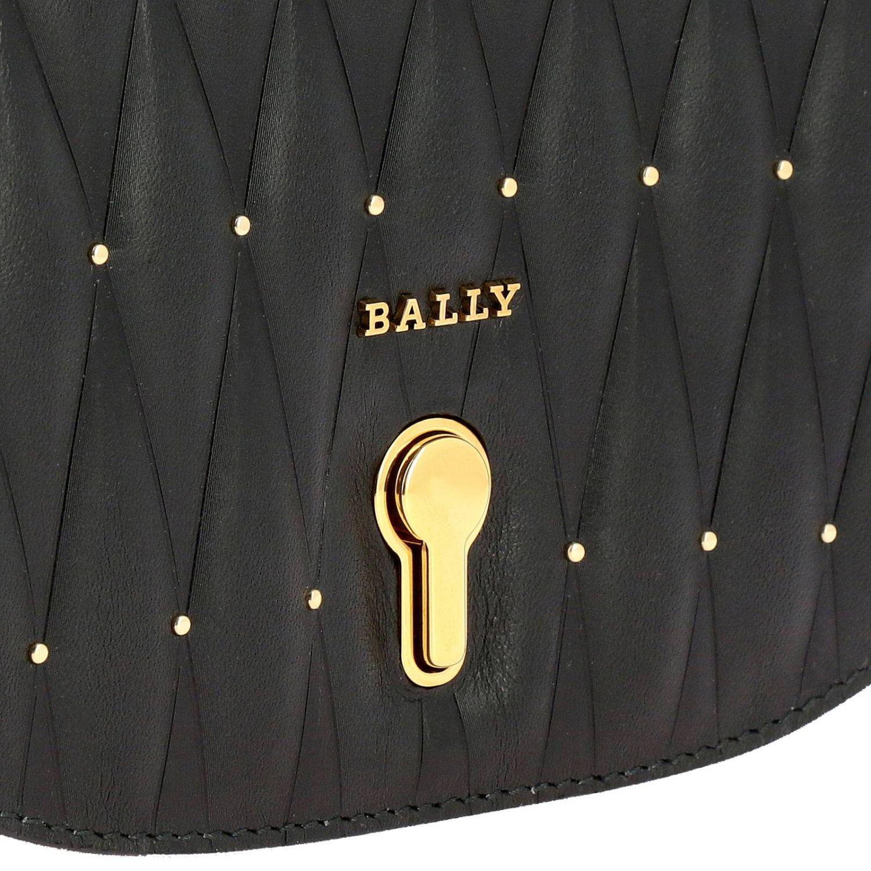 Borsa Clay mini a tracolla in pelle trapuntata con micro borchie e logo Bally nero 4