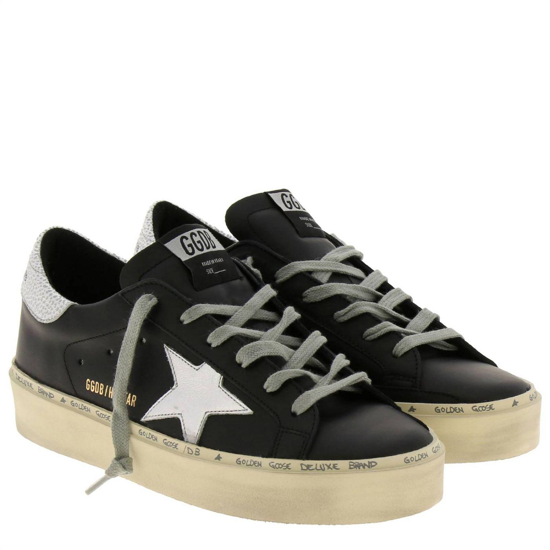 Sneakers Hi star Golden Goose in pelle liscia con stella laminata e suola platform