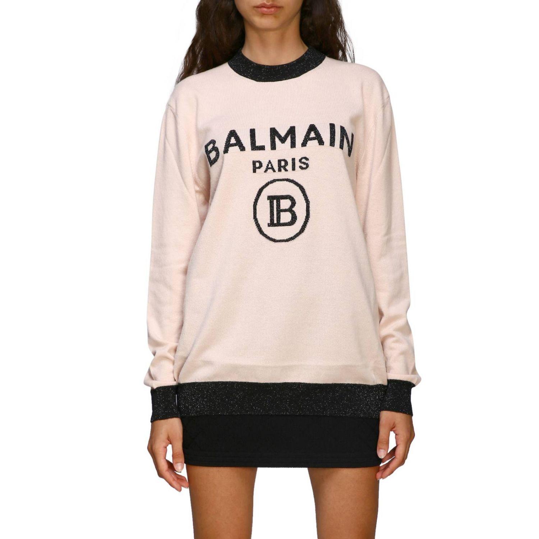 Jumper Balmain: Crewneck jumper with Balmain maxi logo pink 1