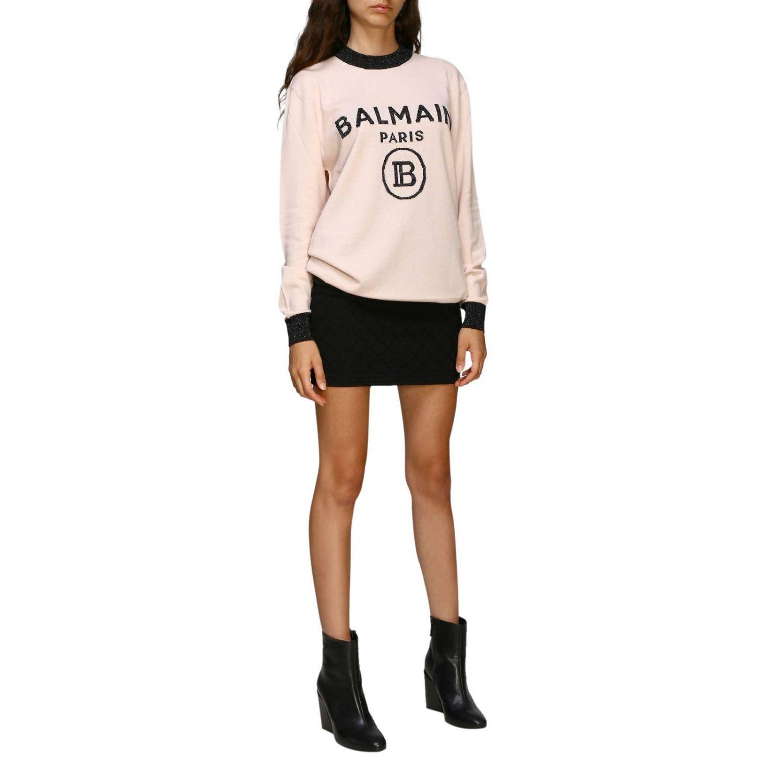Jumper Balmain: Crewneck jumper with Balmain maxi logo pink 2