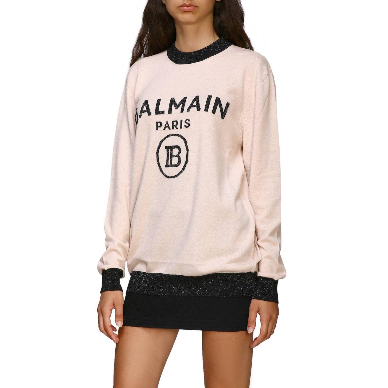Jumper Balmain: Crewneck jumper with Balmain maxi logo pink 4