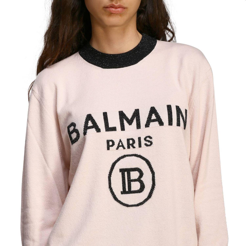 Jumper Balmain: Crewneck jumper with Balmain maxi logo pink 5