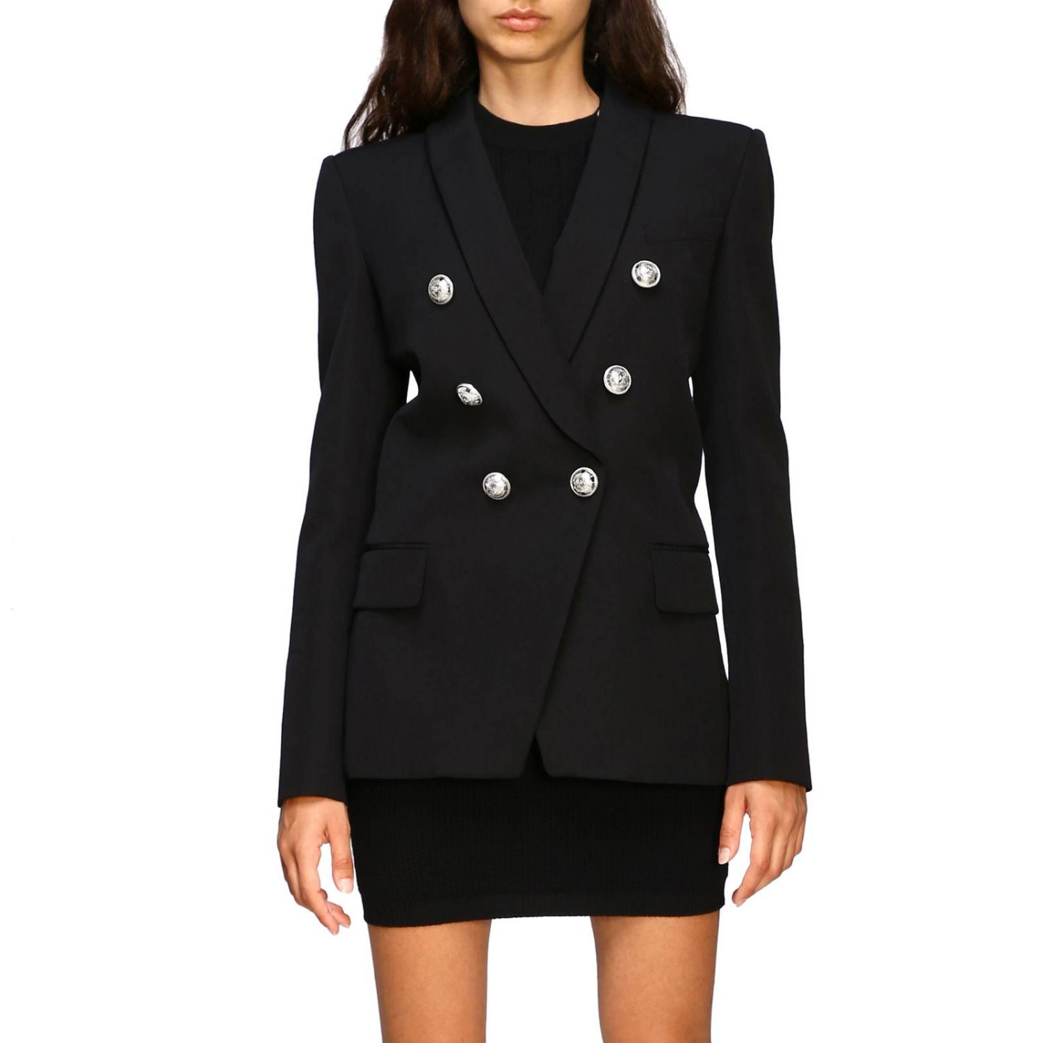 Balmain double-breasted blazer with jewel buttons black 1