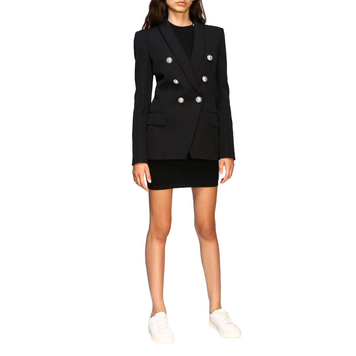 Balmain double-breasted blazer with jewel buttons black 2