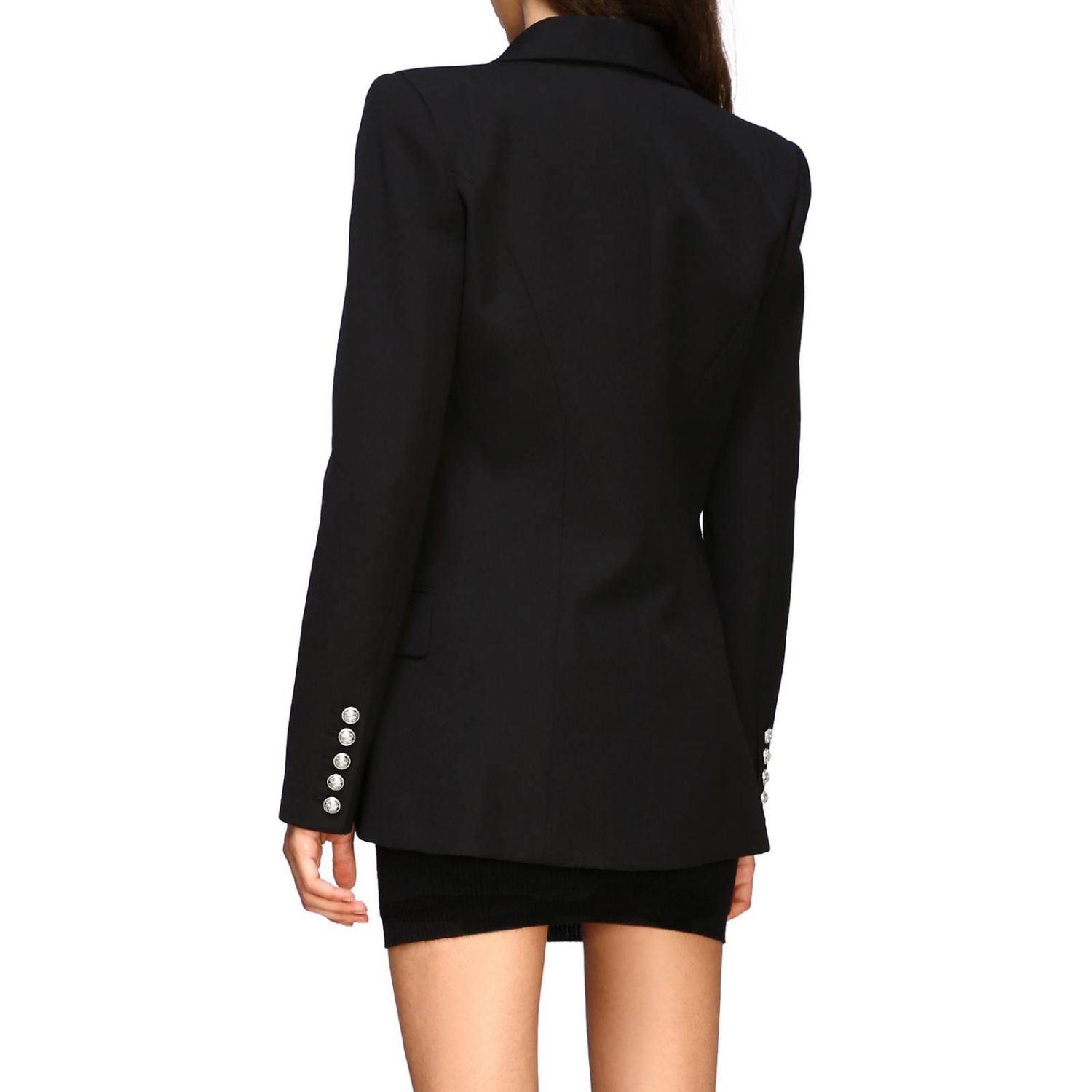 Balmain double-breasted blazer with jewel buttons black 3