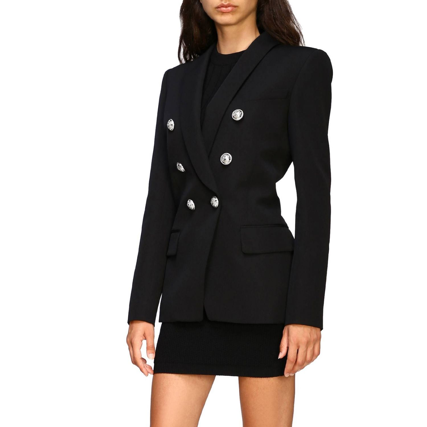 Balmain double-breasted blazer with jewel buttons black 4