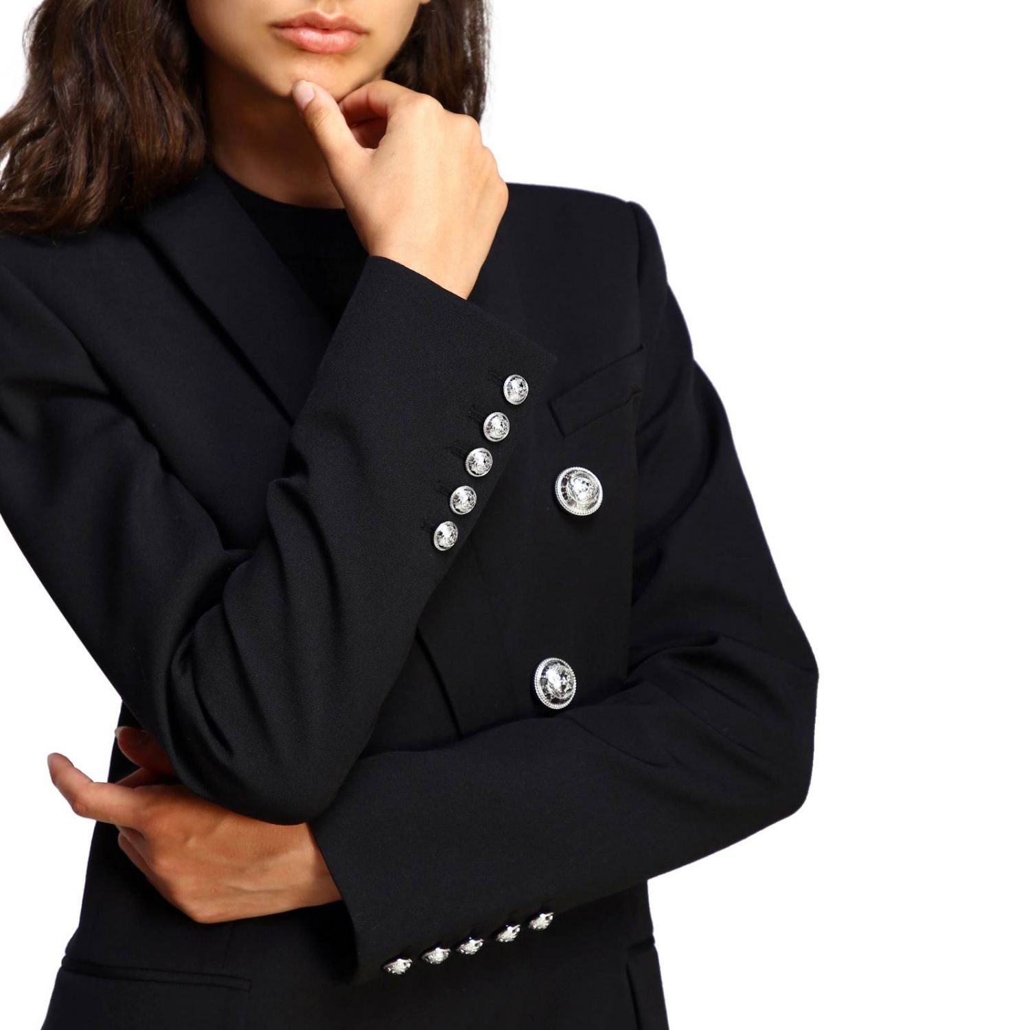 Balmain double-breasted blazer with jewel buttons black 5