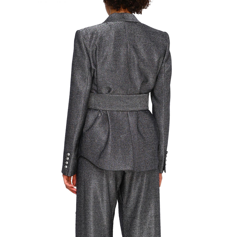 Blazer Balmain: Balmain double-breasted blazer in lurex knit with belt black 3