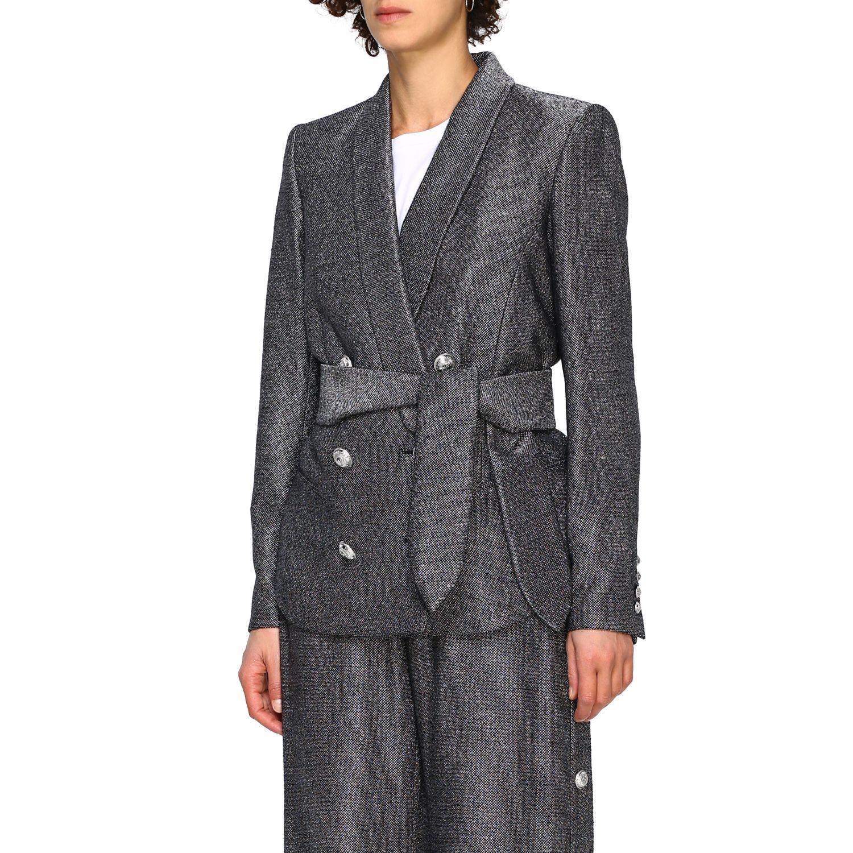 Blazer Balmain: Balmain double-breasted blazer in lurex knit with belt black 4