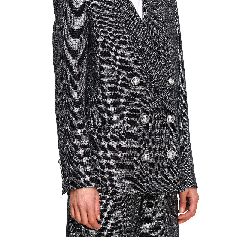 Blazer Balmain: Balmain double-breasted blazer in lurex knit with belt black 5