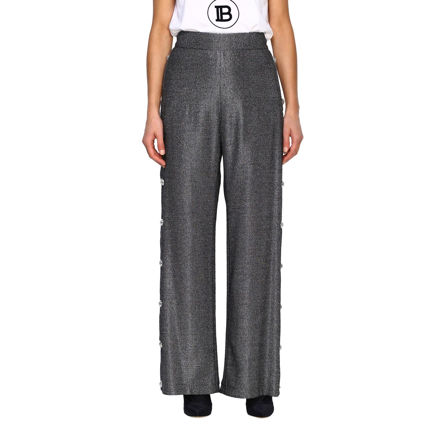Trousers Balmain: Wide Balmain trousers in lurex knit with jewel buttons black 1
