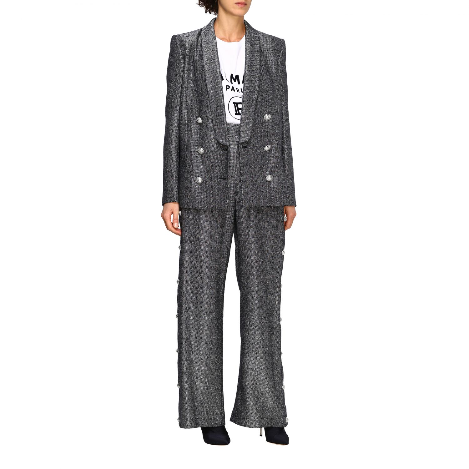 Trousers Balmain: Wide Balmain trousers in lurex knit with jewel buttons black 2
