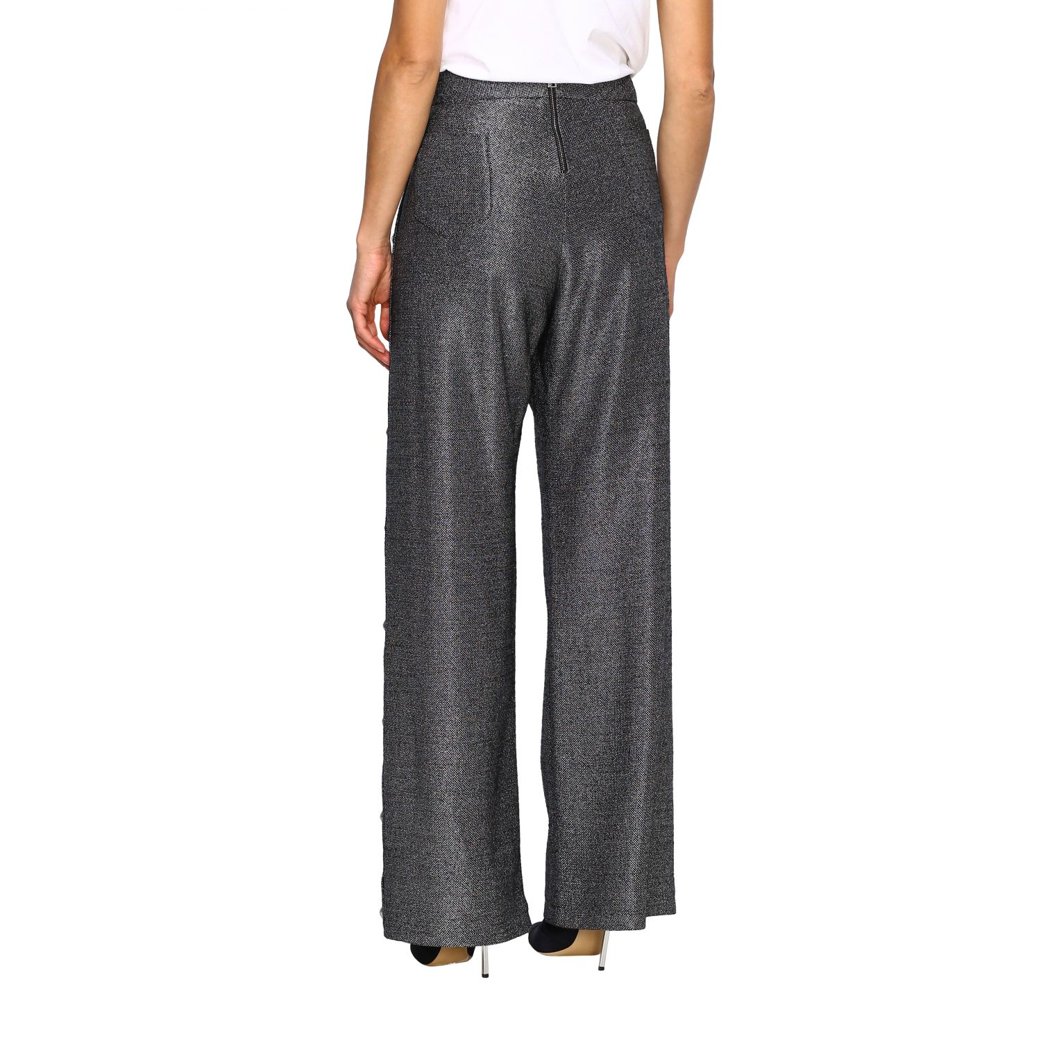 Trousers Balmain: Wide Balmain trousers in lurex knit with jewel buttons black 3