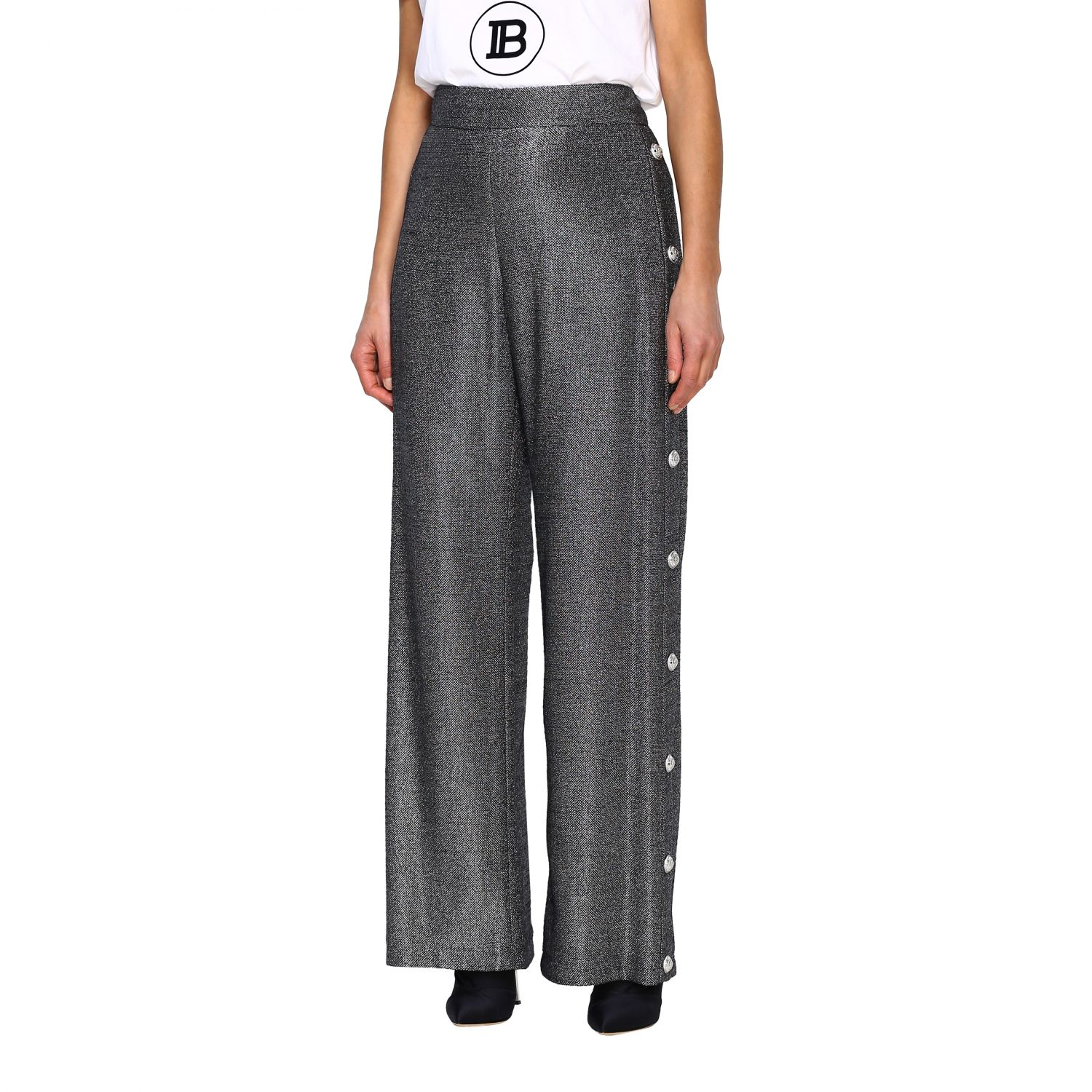 Trousers Balmain: Wide Balmain trousers in lurex knit with jewel buttons black 4