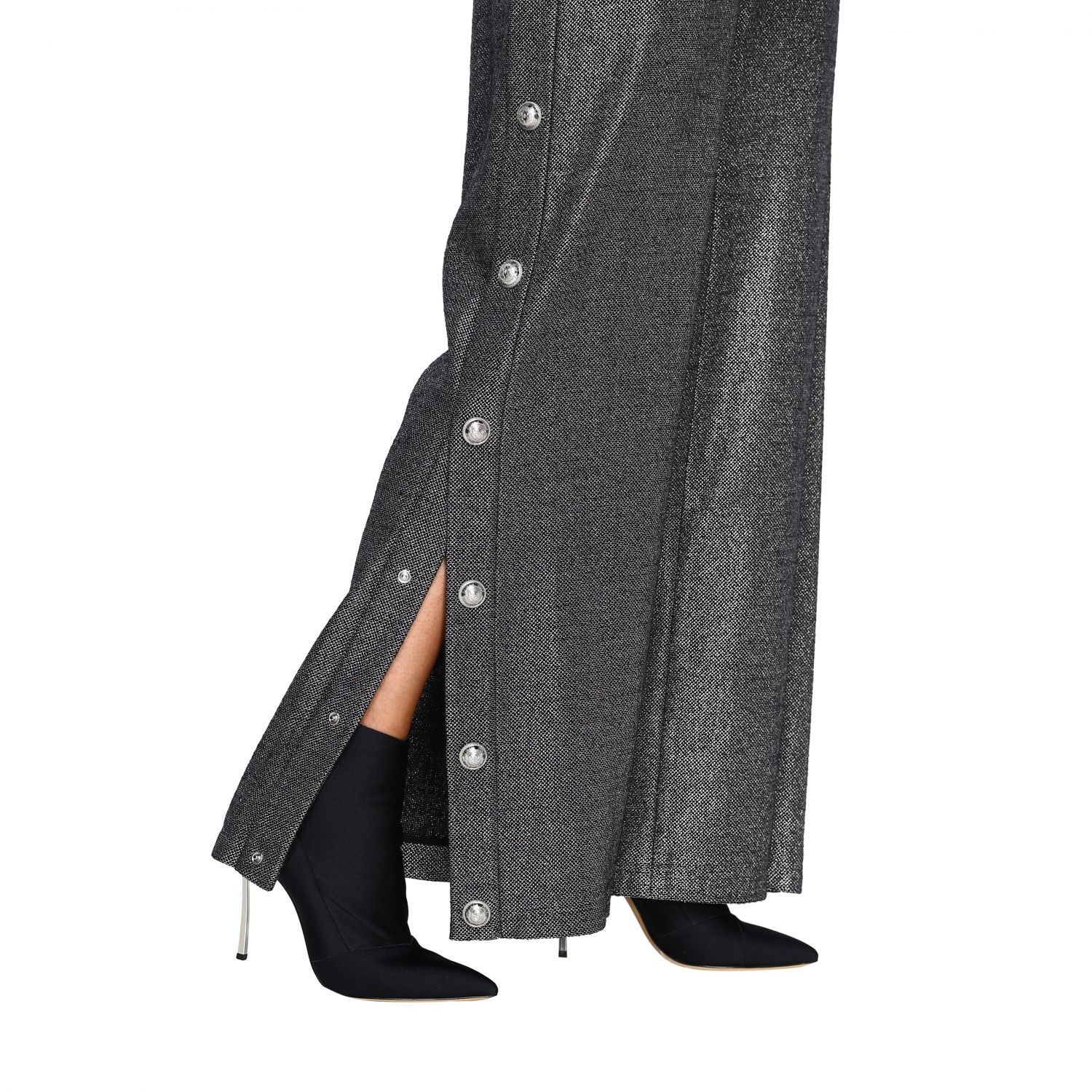 Trousers Balmain: Wide Balmain trousers in lurex knit with jewel buttons black 5