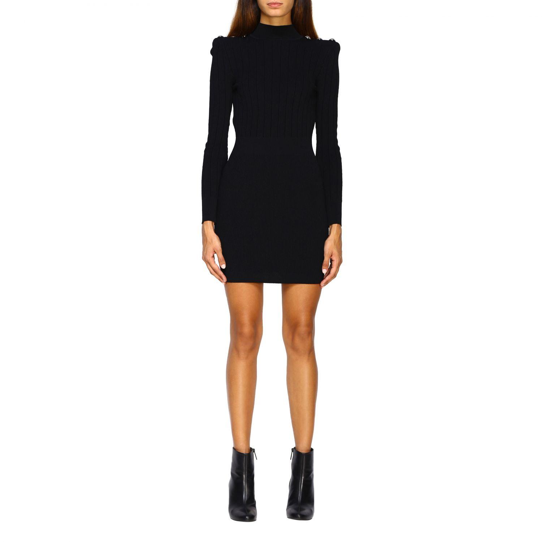 Dress Balmain: Balmain knit dress with jewel buttons black 1