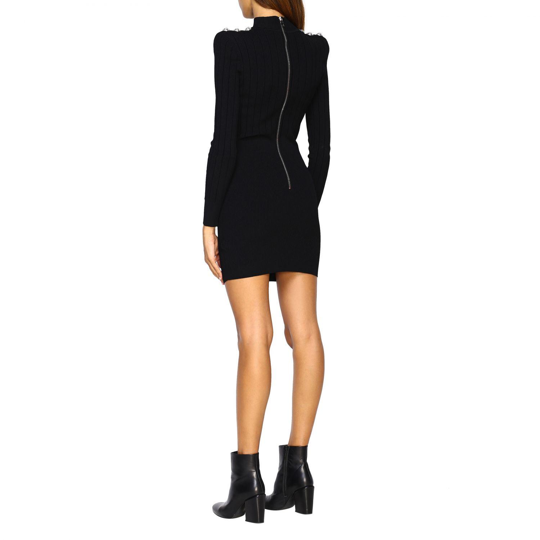 Dress Balmain: Balmain knit dress with jewel buttons black 2