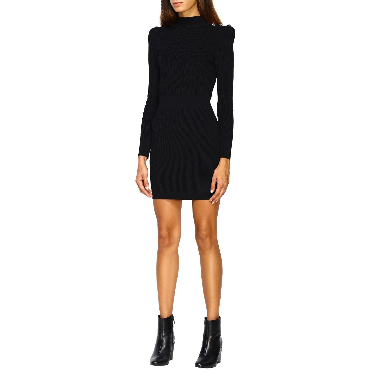Dress Balmain: Balmain knit dress with jewel buttons black 3
