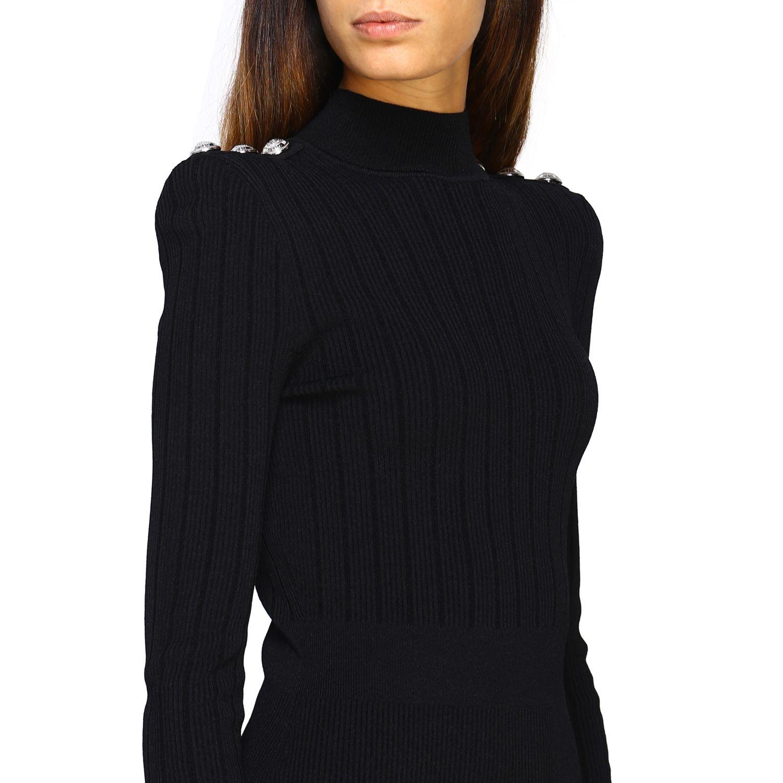 Dress Balmain: Balmain knit dress with jewel buttons black 4