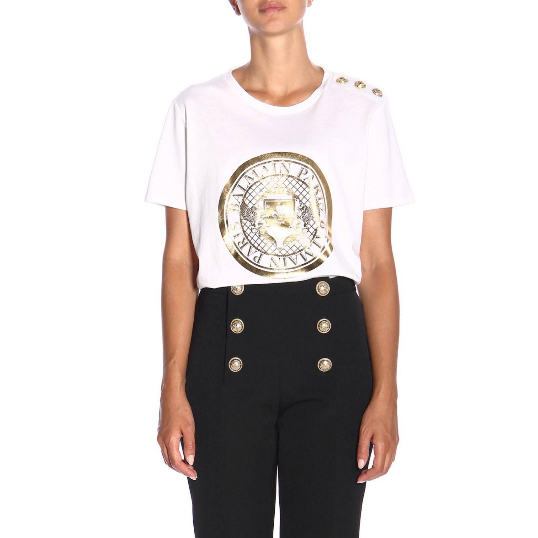 T-shirt a girocollo con maxi stemma Balmain e bottoni gioiello bianco 1
