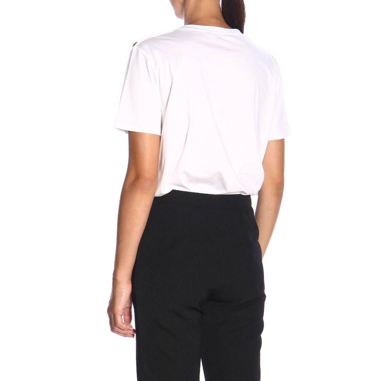 T-shirt a girocollo con maxi stemma Balmain e bottoni gioiello bianco 3