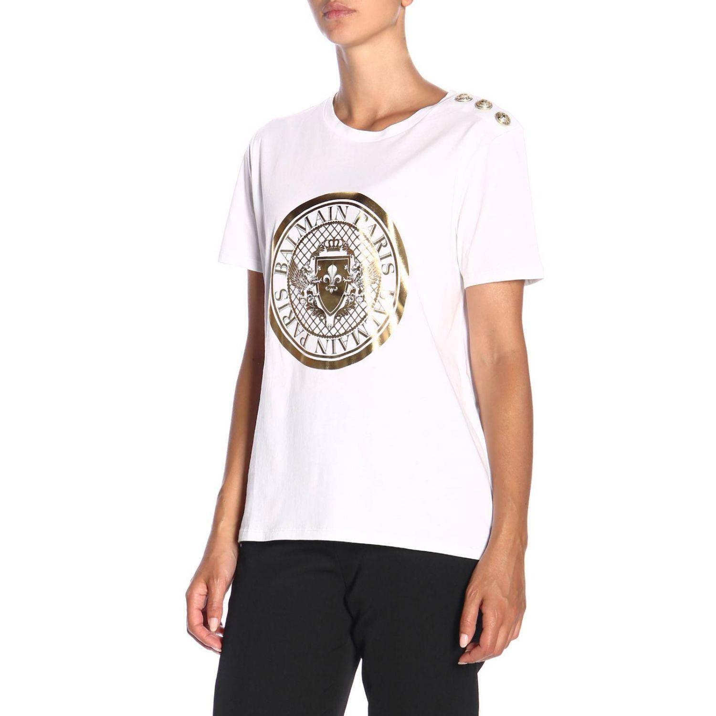 T-shirt a girocollo con maxi stemma Balmain e bottoni gioiello bianco 4