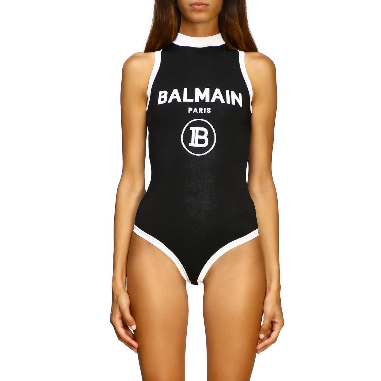 Body à col rond sans manches avec maxi logo Balmain noir 1