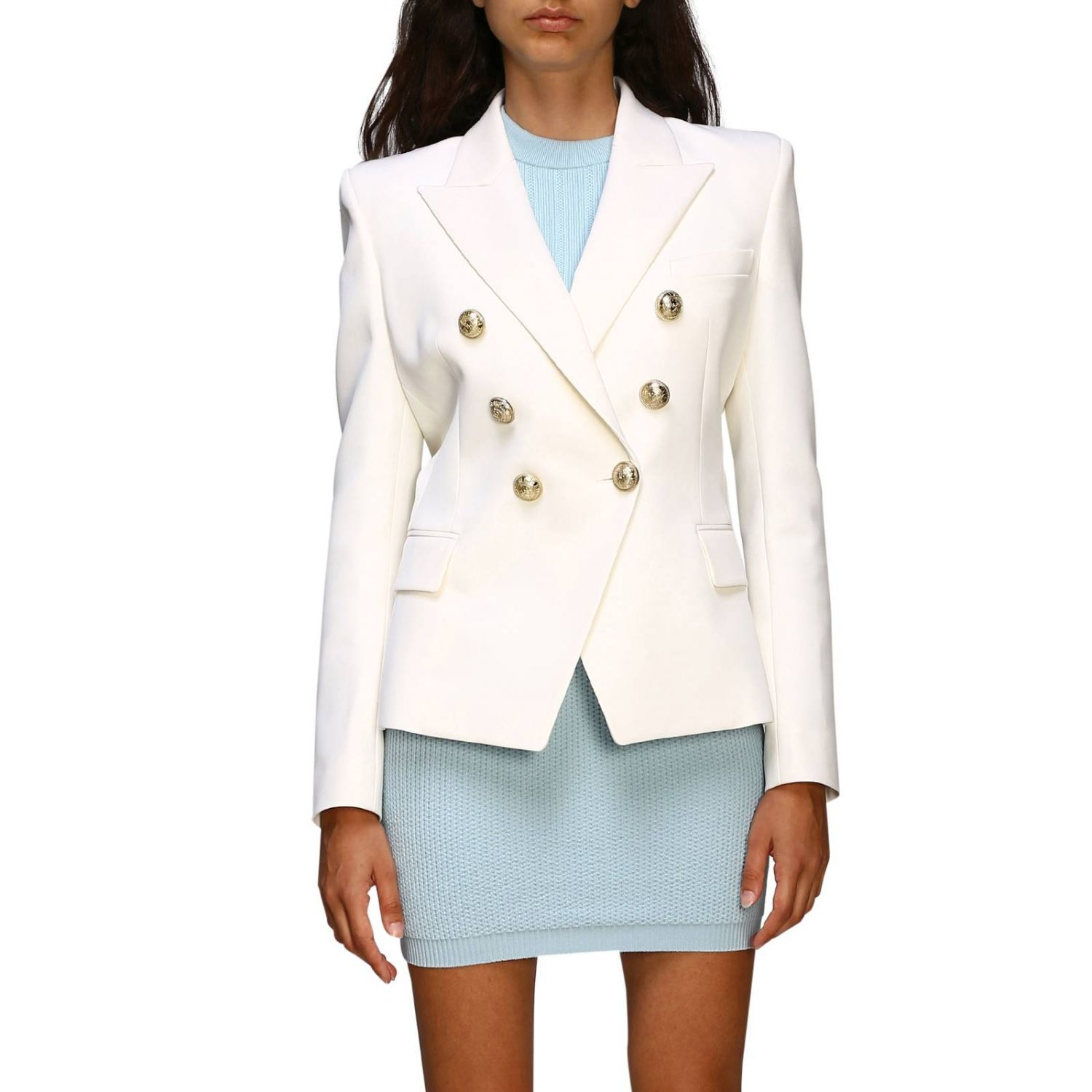 Jacket Balmain: Balmain double-breasted wool blazer with jewel buttons white 1