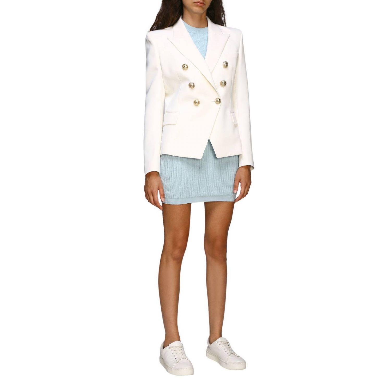 Giacca Balmain: Giacca Balmain a doppiopetto in lana con bottoni gioiello bianco 2