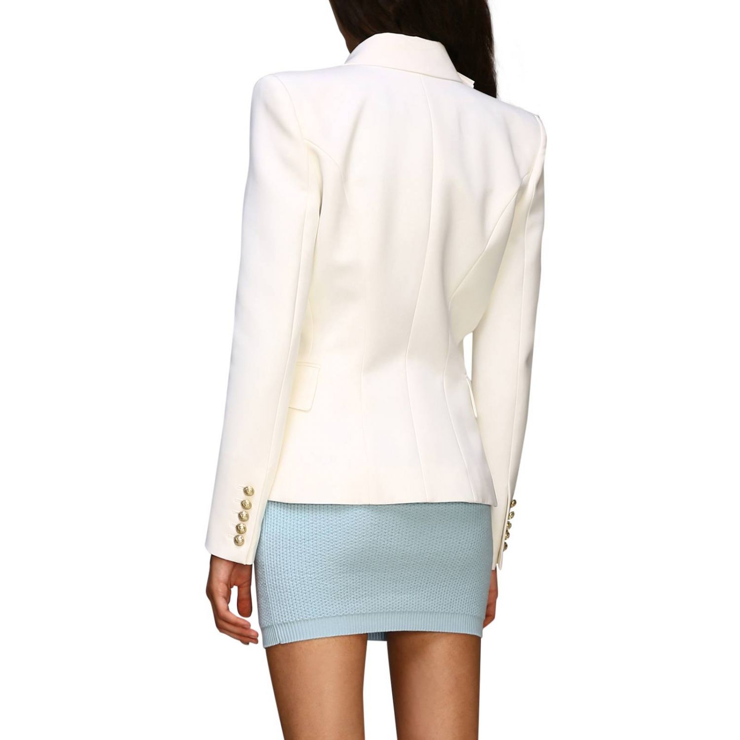 Jacket Balmain: Balmain double-breasted wool blazer with jewel buttons white 3