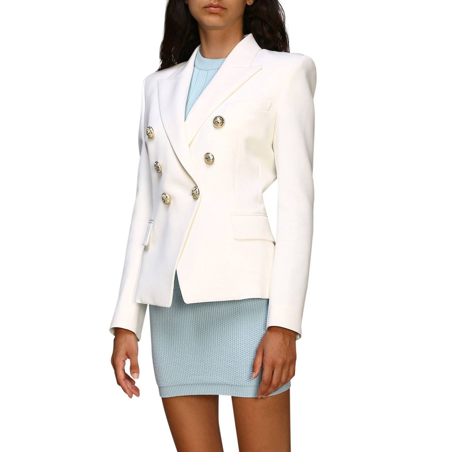 Jacket Balmain: Balmain double-breasted wool blazer with jewel buttons white 4