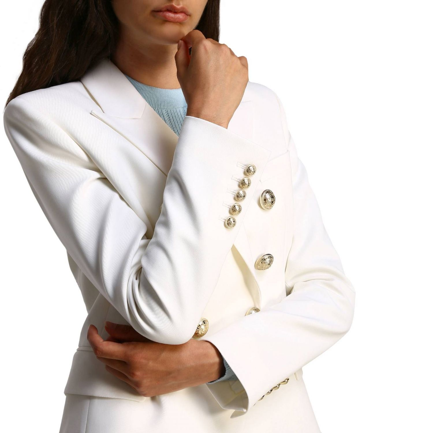 Jacket Balmain: Balmain double-breasted wool blazer with jewel buttons white 5